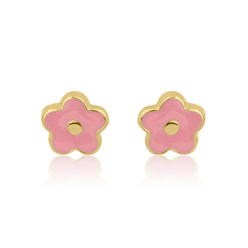 Girl's Jewelry | Gold Stud Earrings -  Lotus Flower
