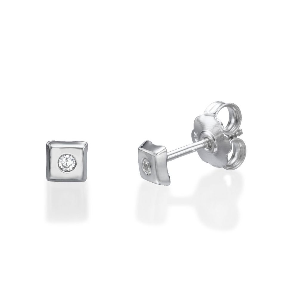 Girl's Jewelry | White Gold Stud Earrings -  Sparkling Square Small