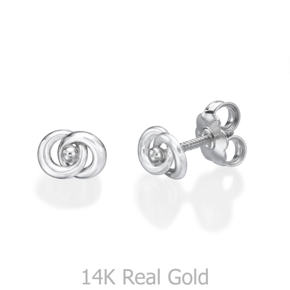 Girl's Jewelry   White Gold Stud Earrings -  Linked Circles
