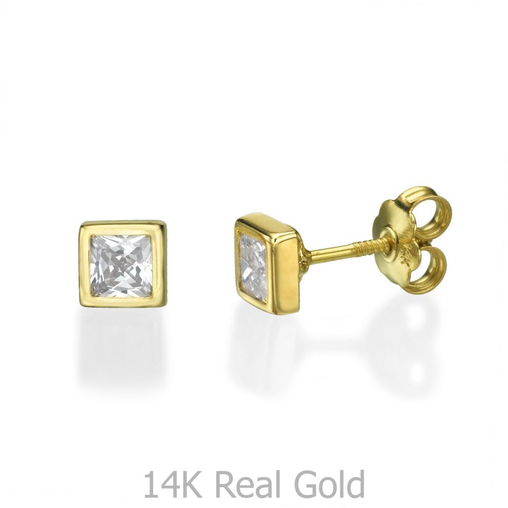 Girl's Jewelry | Gold Stud Earrings -  Sparkling Square - Large