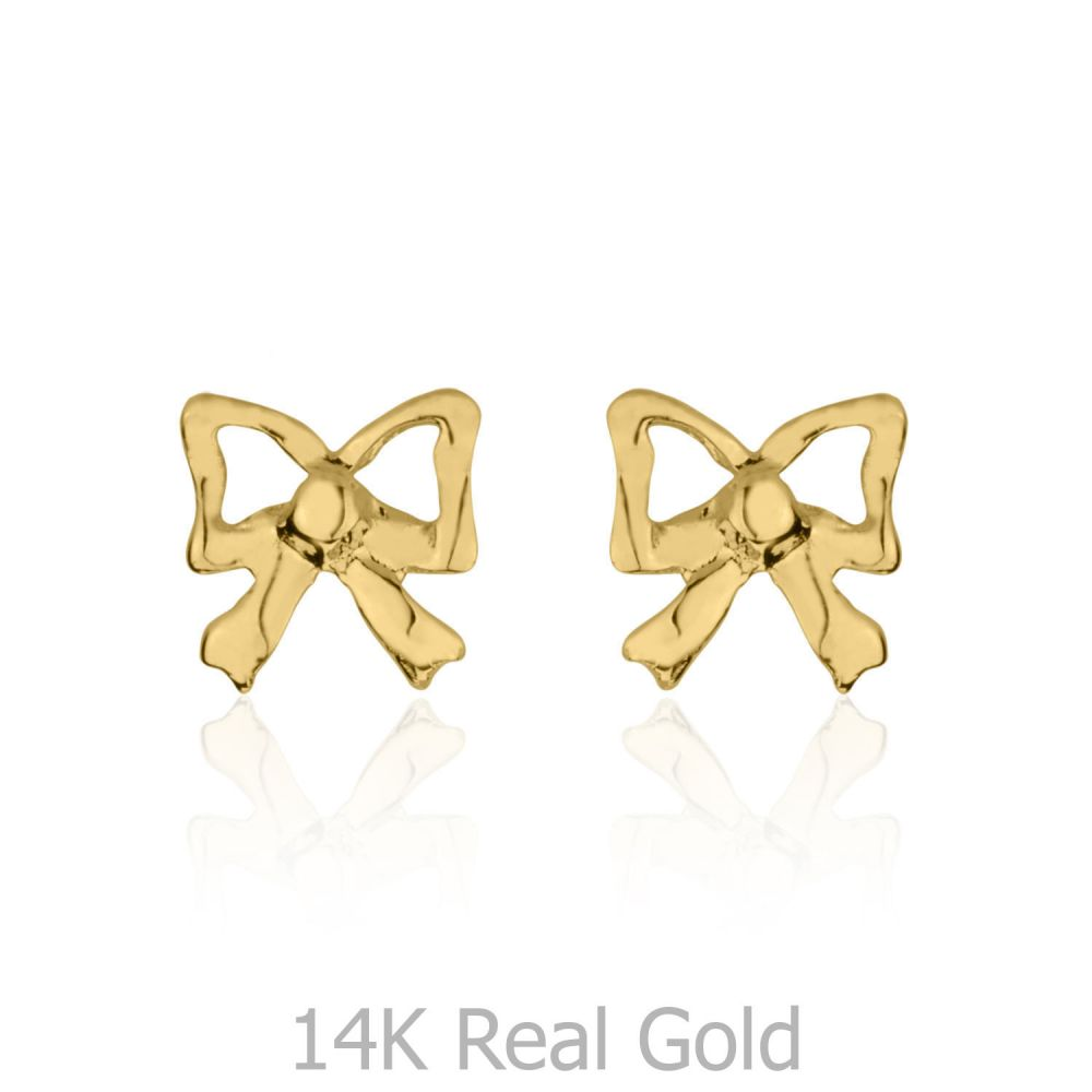 Girl's Jewelry | Gold Stud Earrings -  Delicate Bow