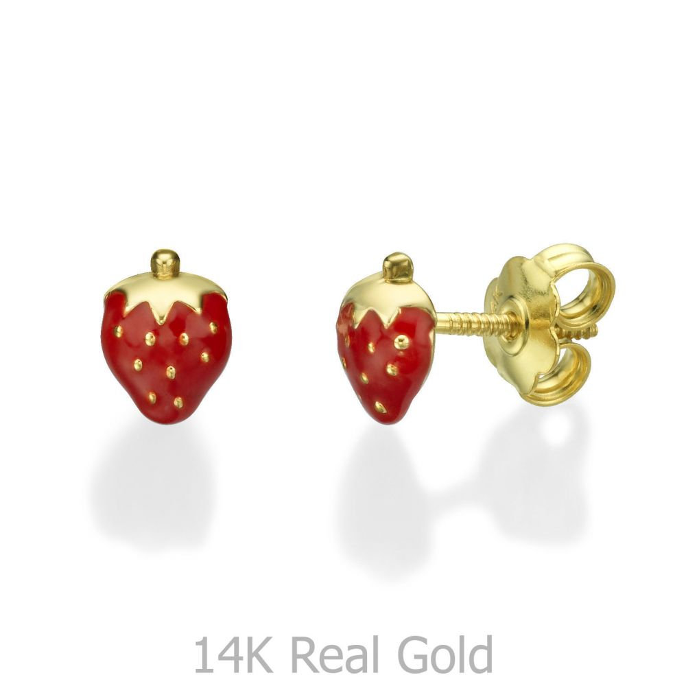Girl's Jewelry | Gold Stud Earrings -  Sweet Strawberry