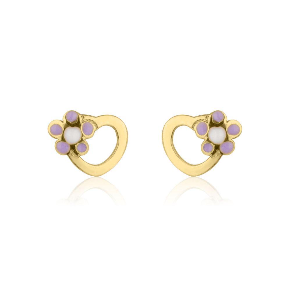Girl's Jewelry | Gold Stud Earrings -  Daisy Heart - Lilac