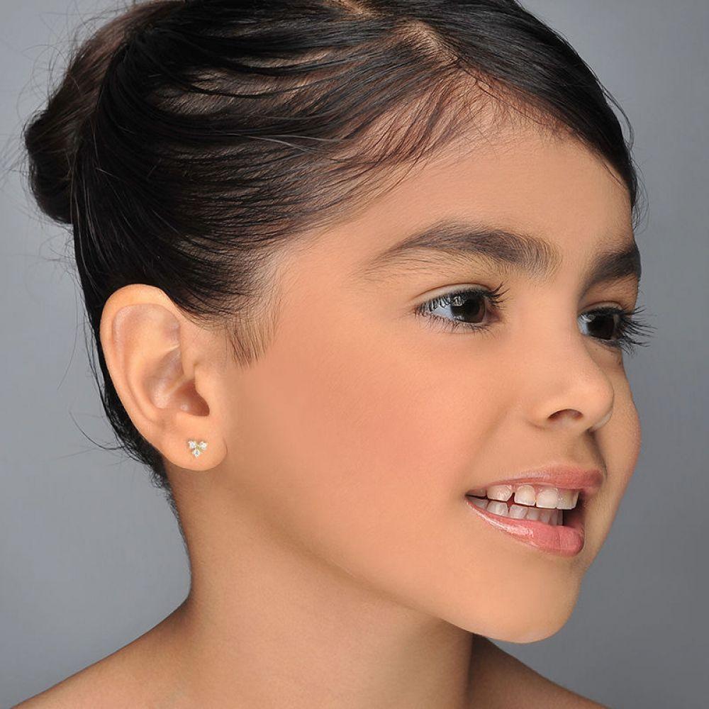 Girl's Jewelry | Gold Stud Earrings -  Starburst Triangle