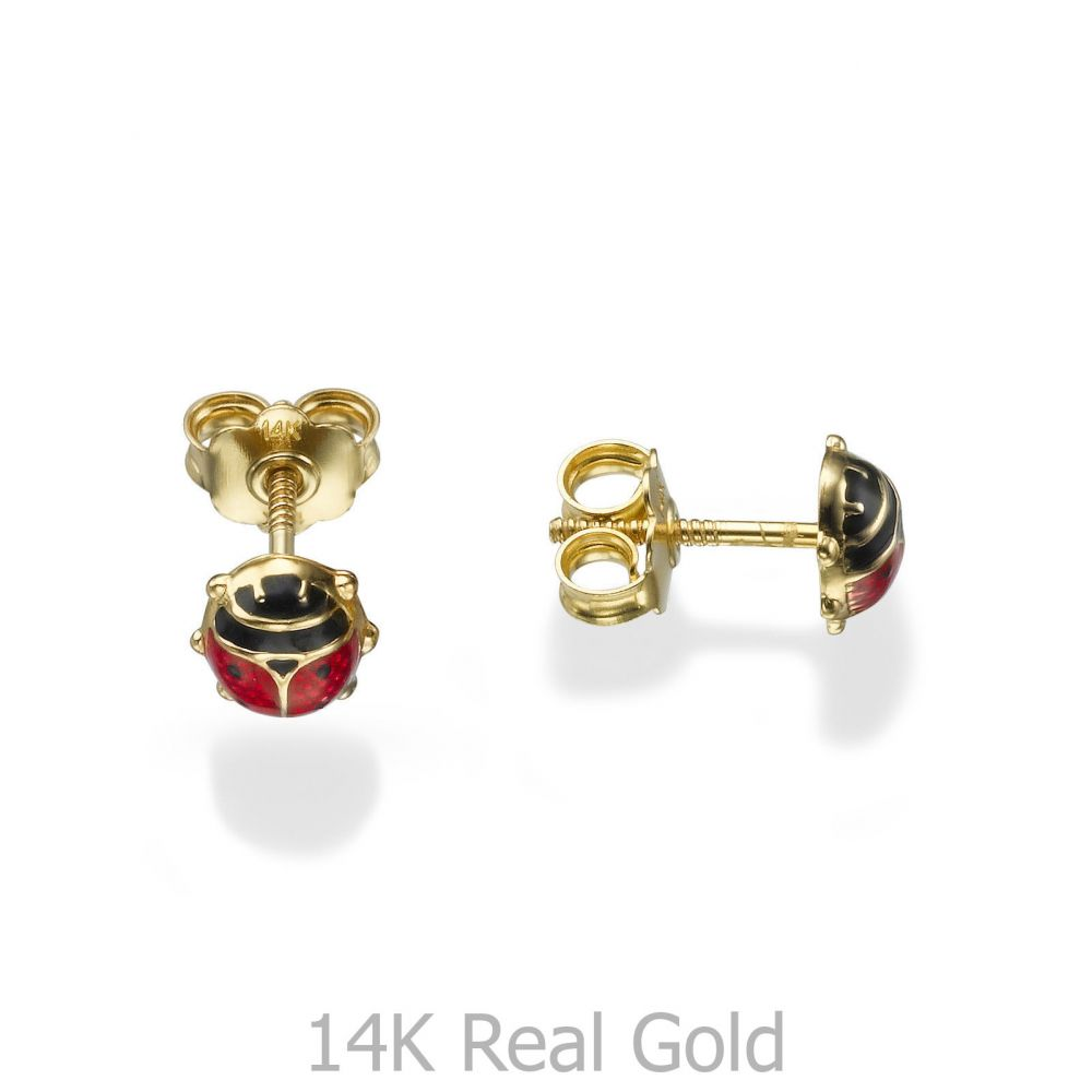 Girl's Jewelry | Gold Stud Earrings -  Ladybug
