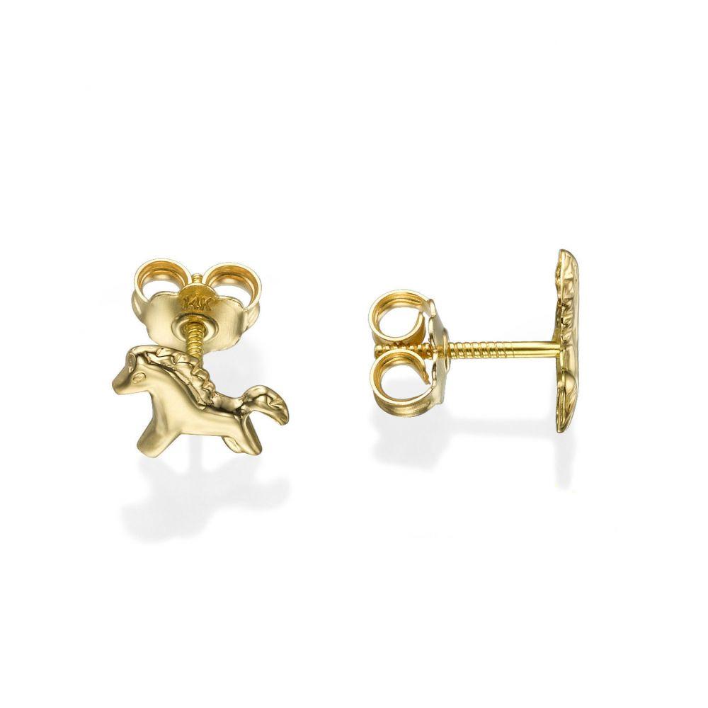 Girl's Jewelry | Gold Stud Earrings -  Pony