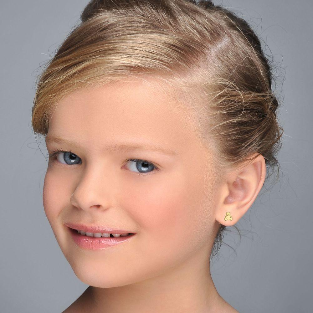 Girl's Jewelry   Gold Stud Earrings -  Smiling Teddy