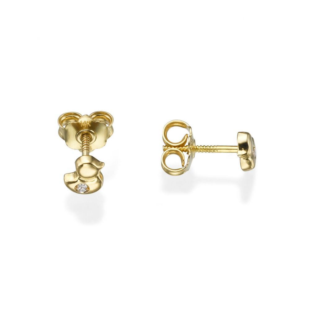 Girl's Jewelry | Gold Stud Earrings -  Sparkling Chick