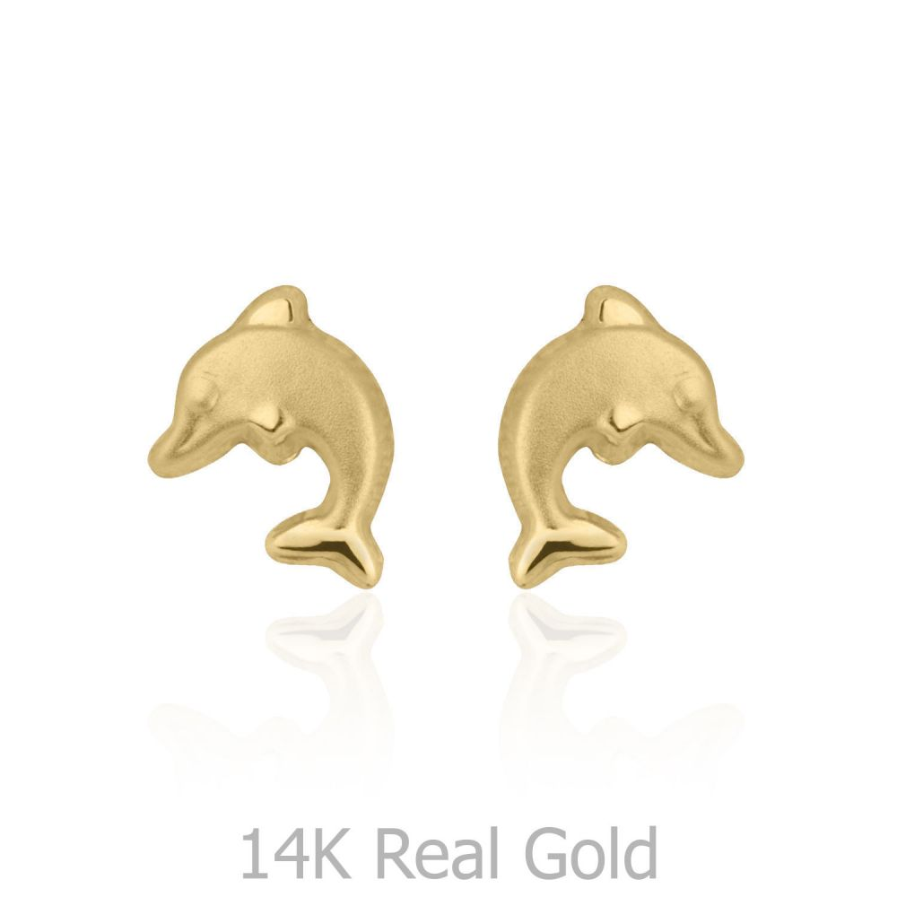 Girl's Jewelry | Gold Stud Earrings -  Leaping Dolphin