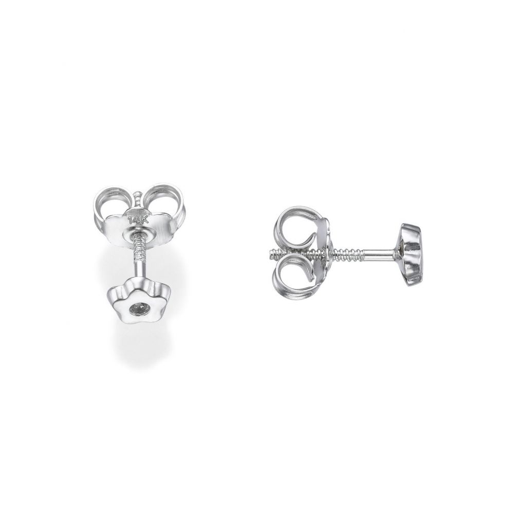 Girl's Jewelry | White Gold Stud Earrings -  Tiny Sparkling Flower
