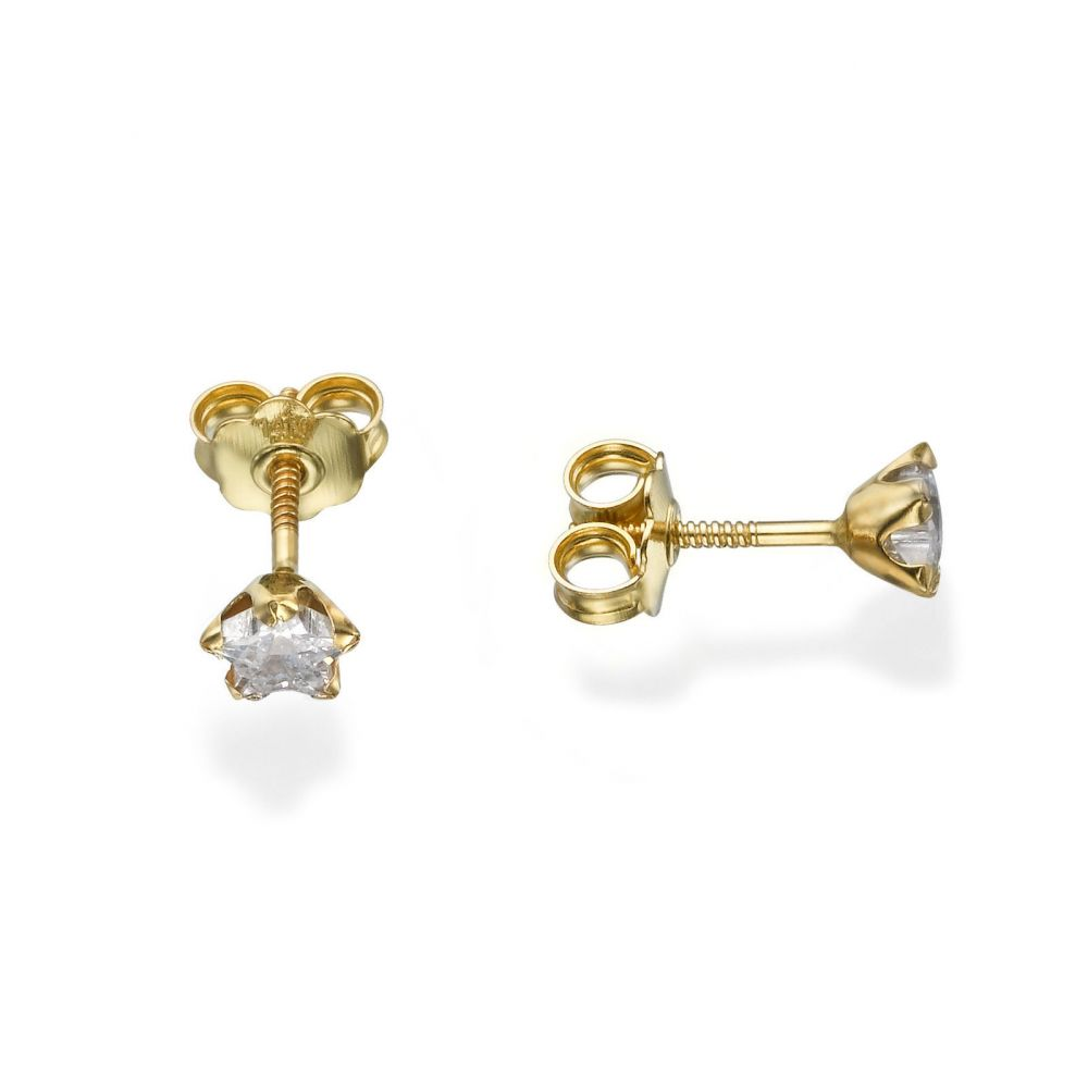 Girl's Jewelry | Gold Stud Earrings -  Star of Charm