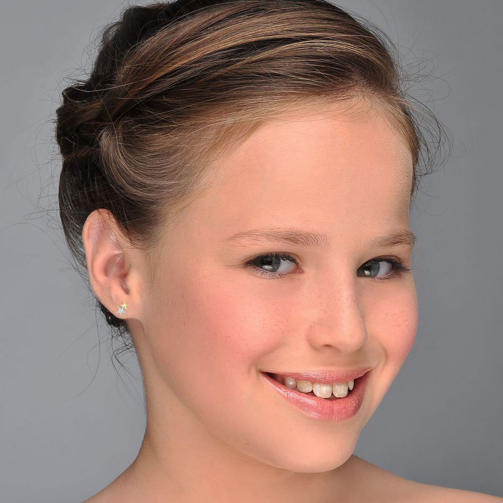 Girl's Jewelry | Gold Stud Earrings -  Two Stars
