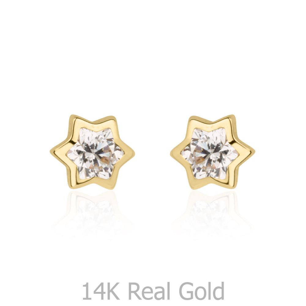 Girl's Jewelry   Gold Stud Earrings - Sparkling Star