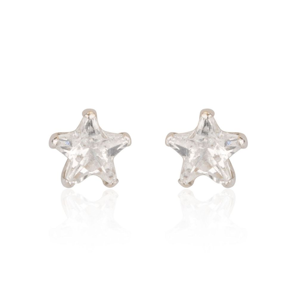 Girl's Jewelry | White Gold Stud Earrings -  The North Star - Small