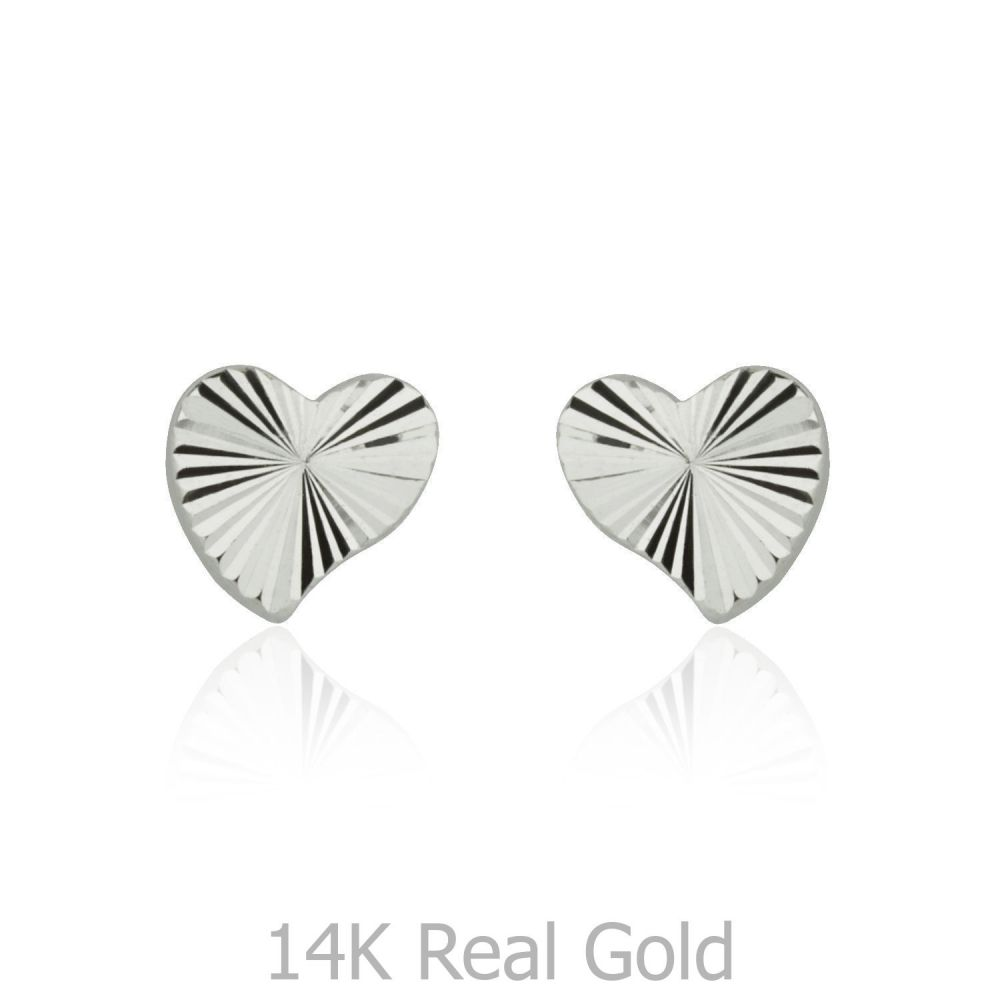 Girl's Jewelry | White Gold Stud Earrings -  Noted Heart