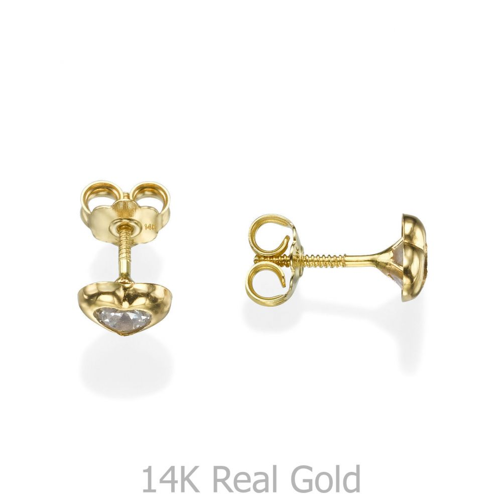 Girl's Jewelry | Gold Stud Earrings -  Sparkling Heart