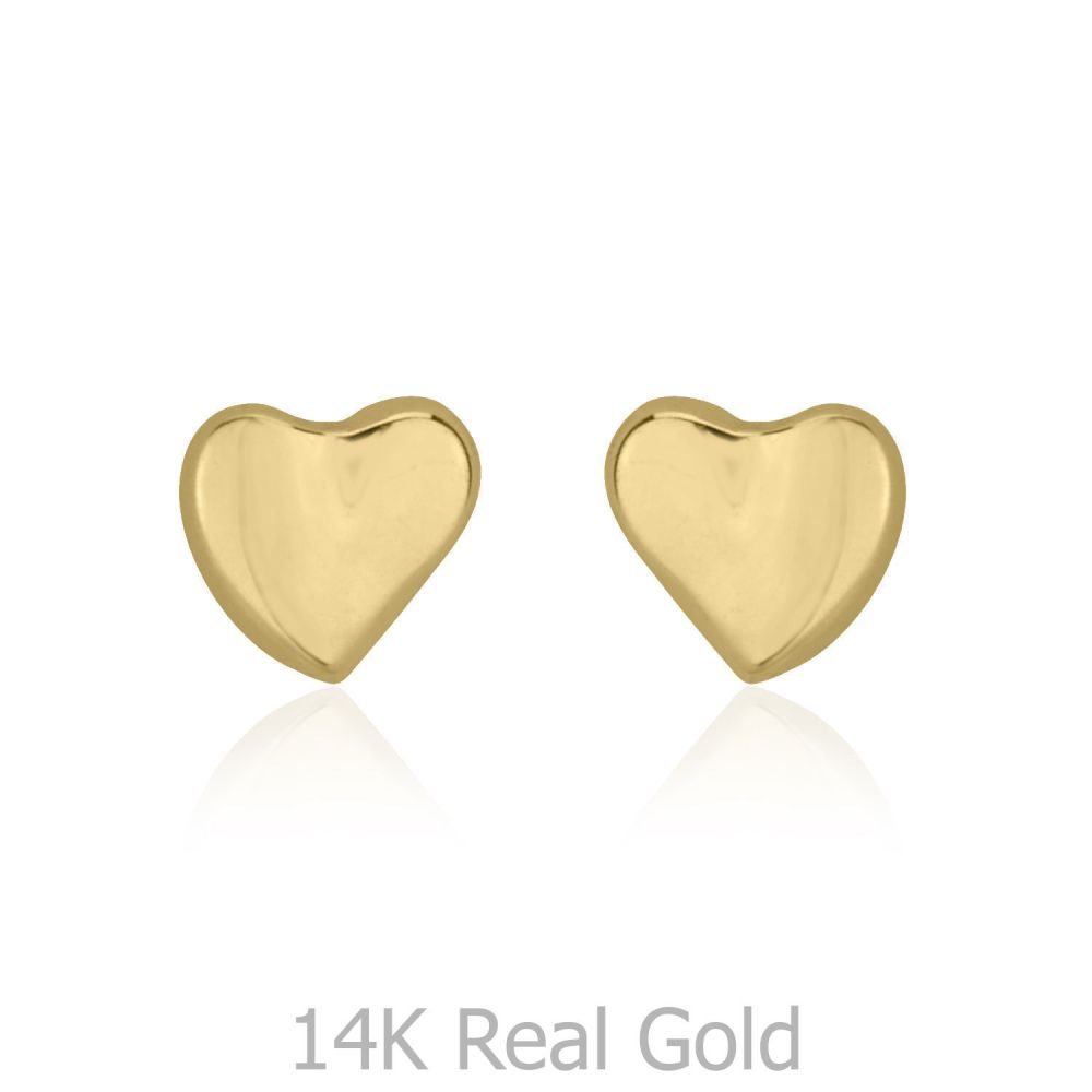 Girl's Jewelry | Gold Stud Earrings -  Loving Heart