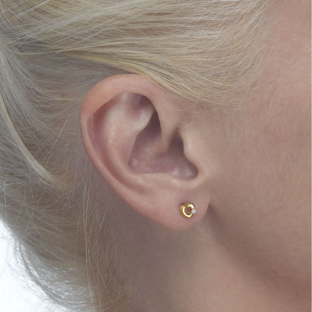 Girl's Jewelry | Gold Stud Earrings -  Cheerful Heart