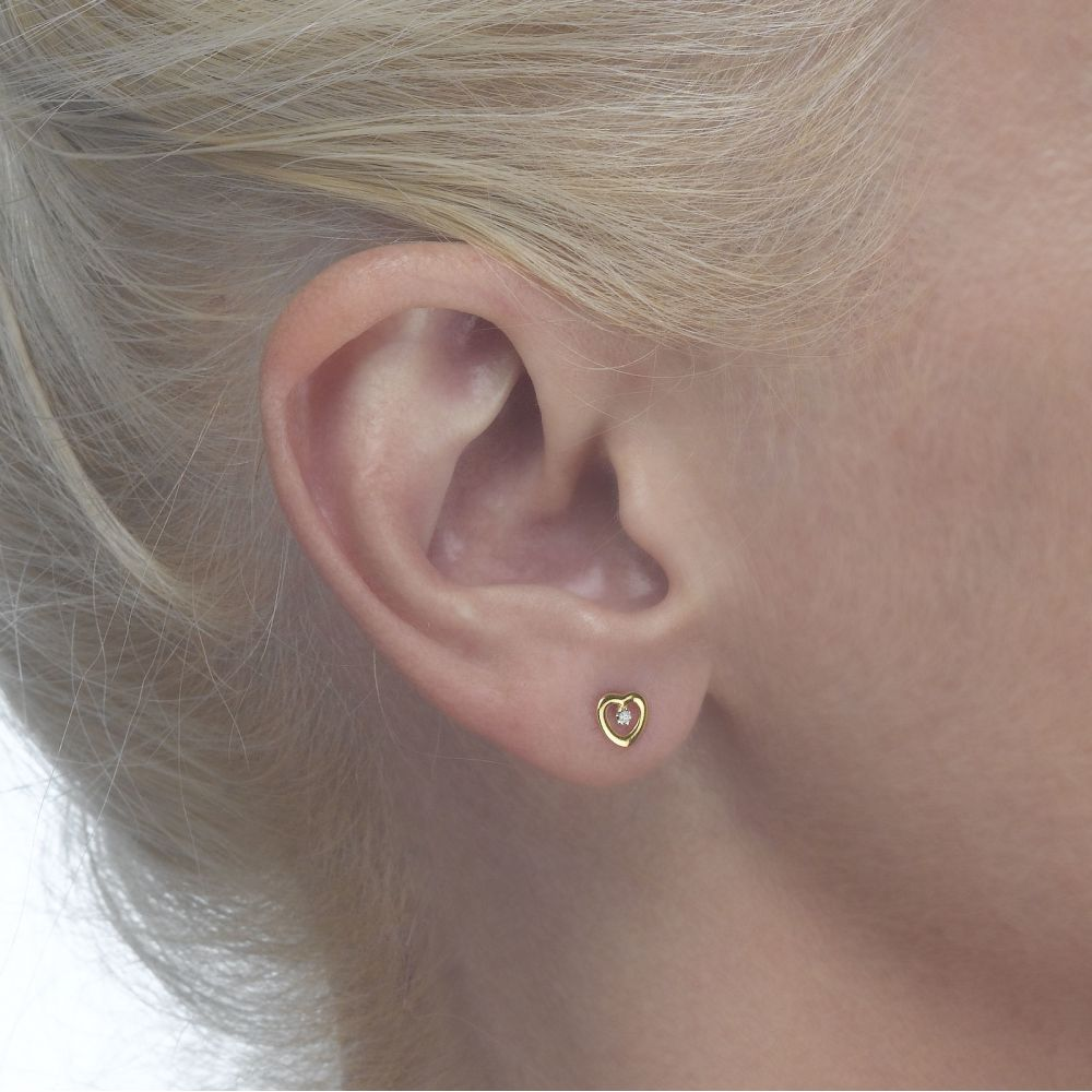 Girl's Jewelry | Gold Stud Earrings -  Captivated Heart