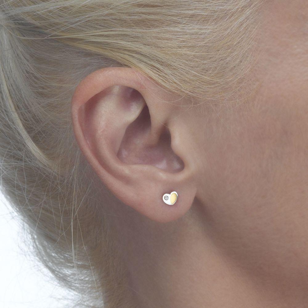 Girl's Jewelry | Gold Stud Earrings -  Duo Heart