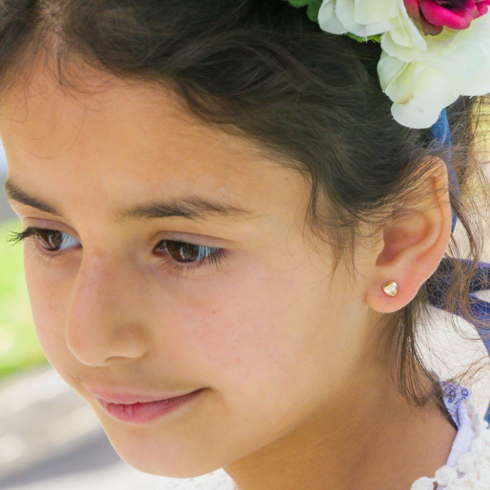 Girl's Jewelry | Gold Stud Earrings -  Classic Plan Heart
