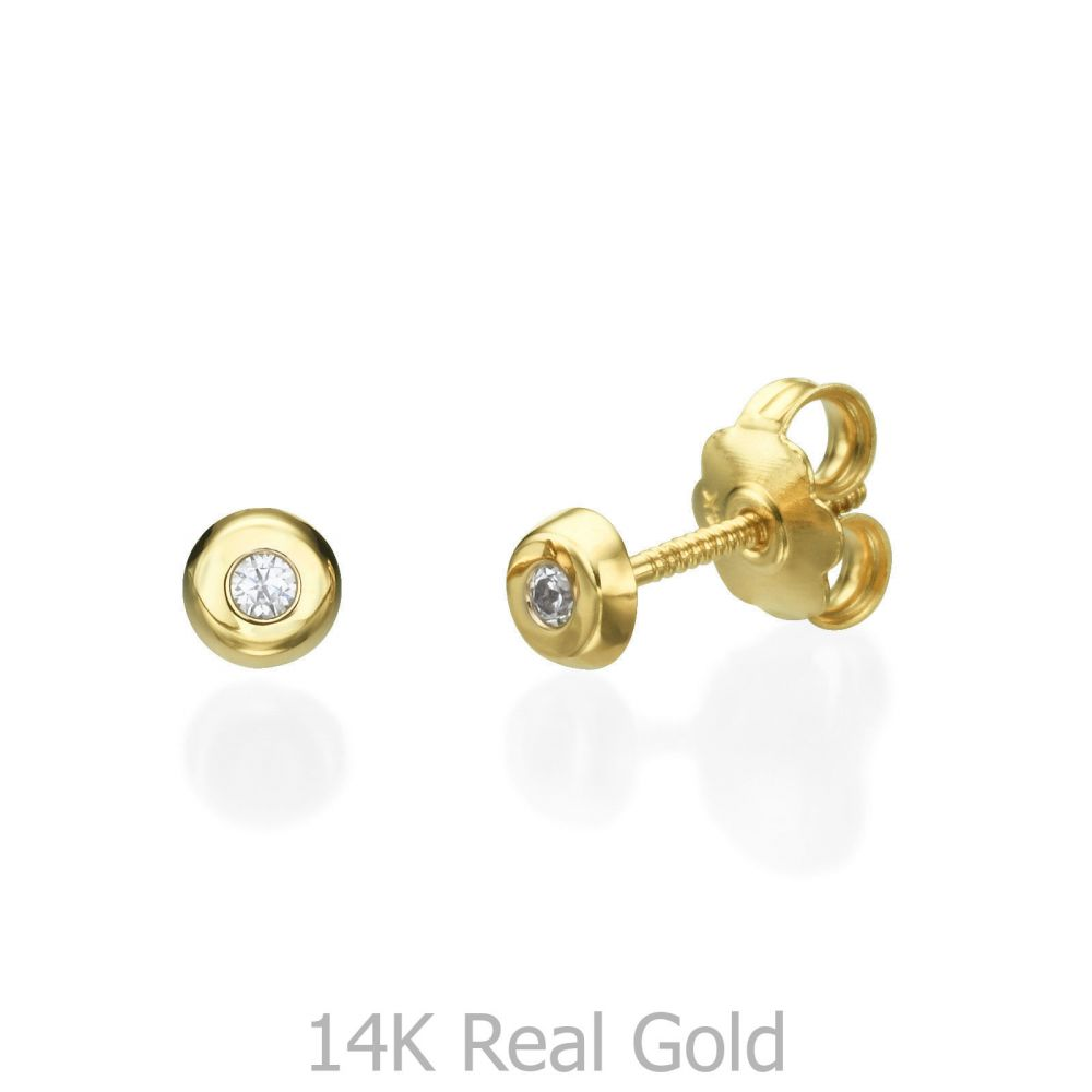 earrings little gold products stone sky disc stud