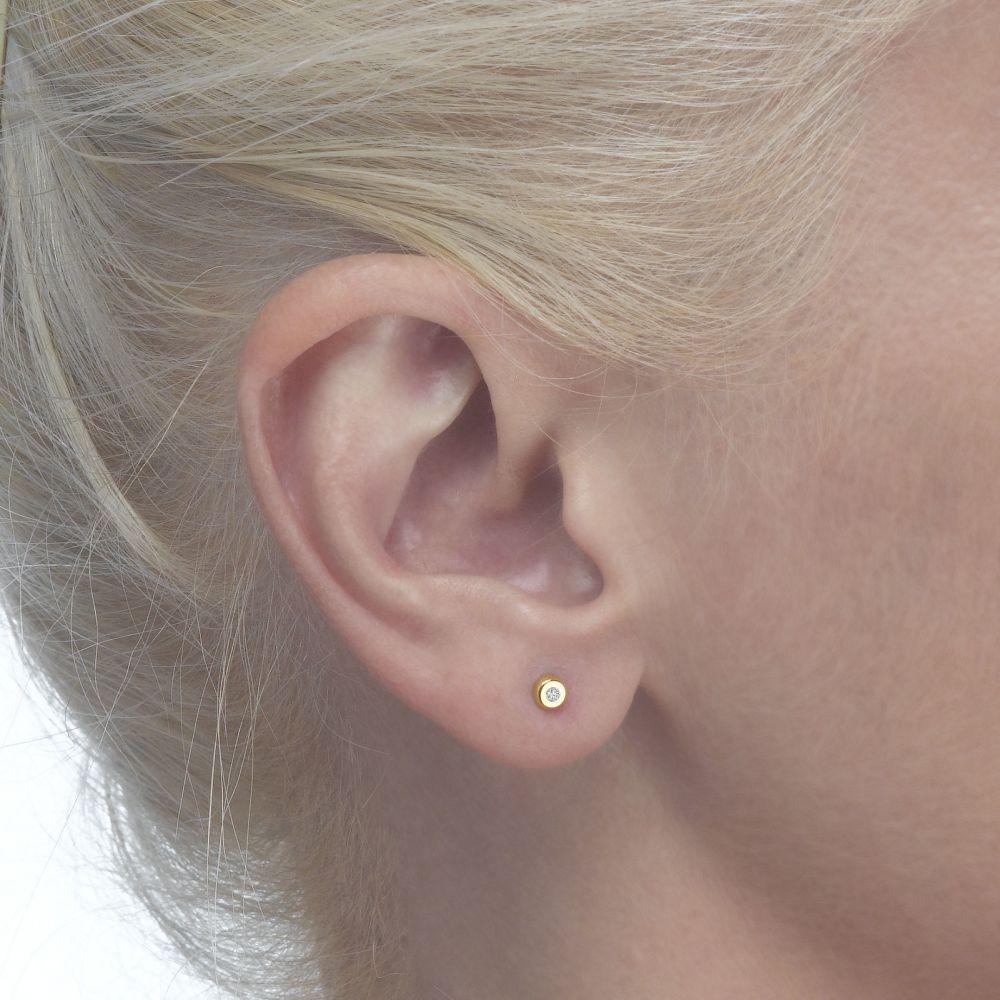 Girl's Jewelry   Gold Stud Earrings -  Circles of Splendor