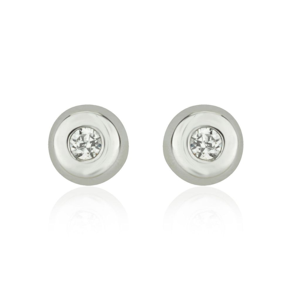 Girl's Jewelry | White Gold Stud Earrings -  Circle of Splendor - Small