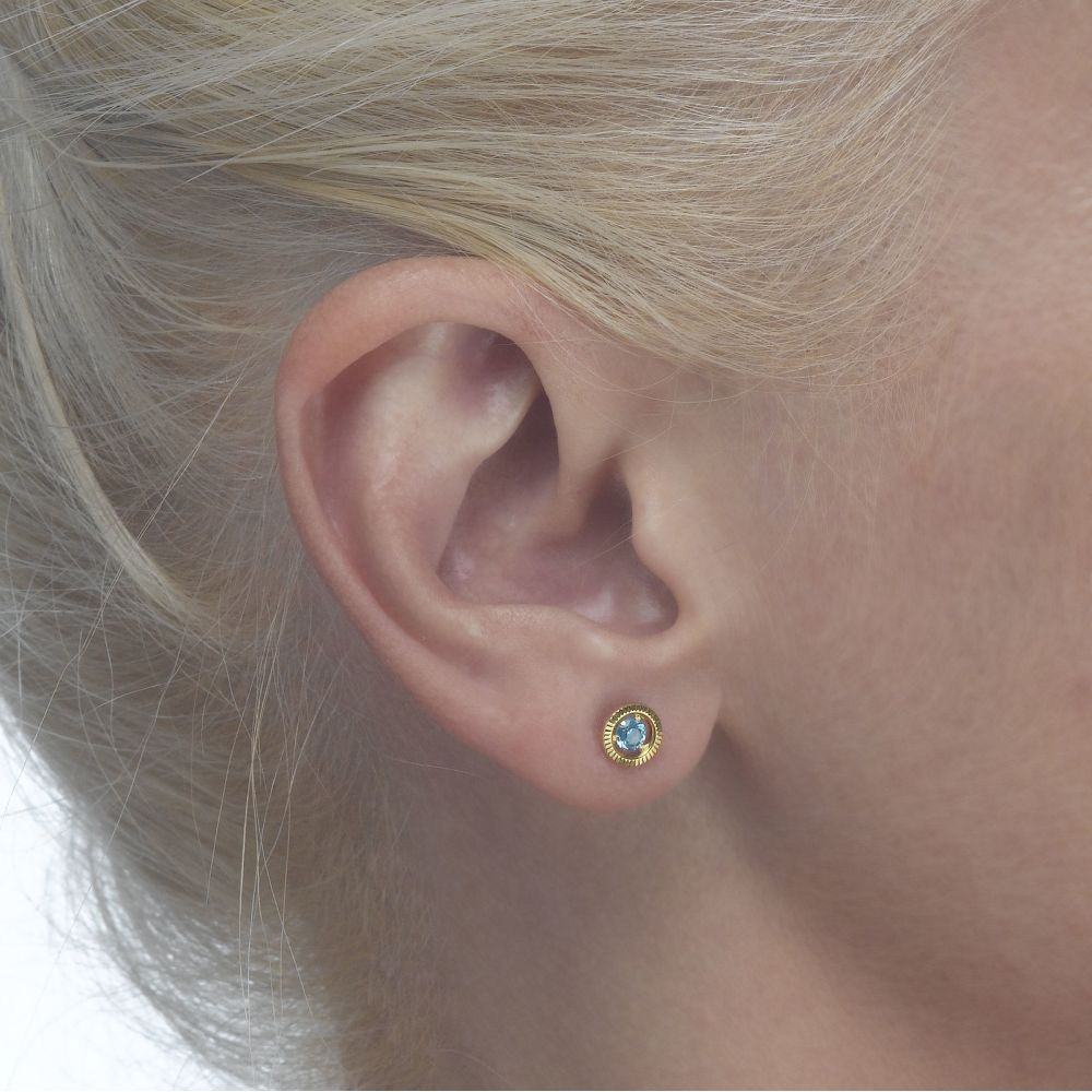 Girl's Jewelry | Gold Stud Earrings -  Topaz Circle