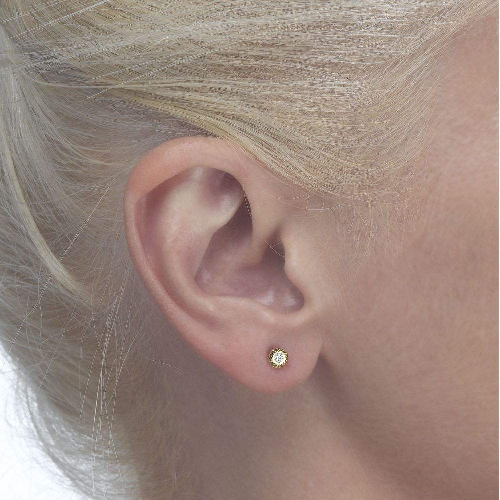 Girl's Jewelry | Gold Stud Earrings -  Katia Circle - Small