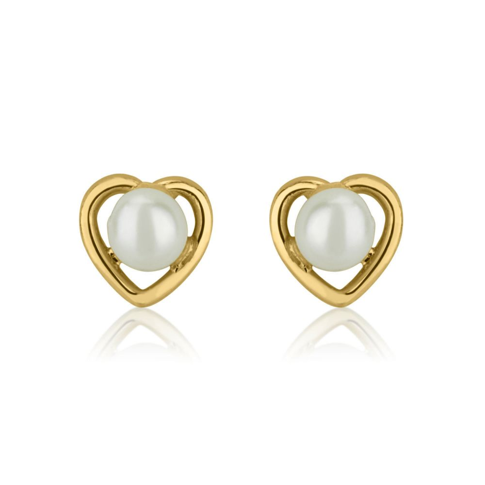 Girl's Jewelry | Gold Stud Earrings -  Pearl of Charm