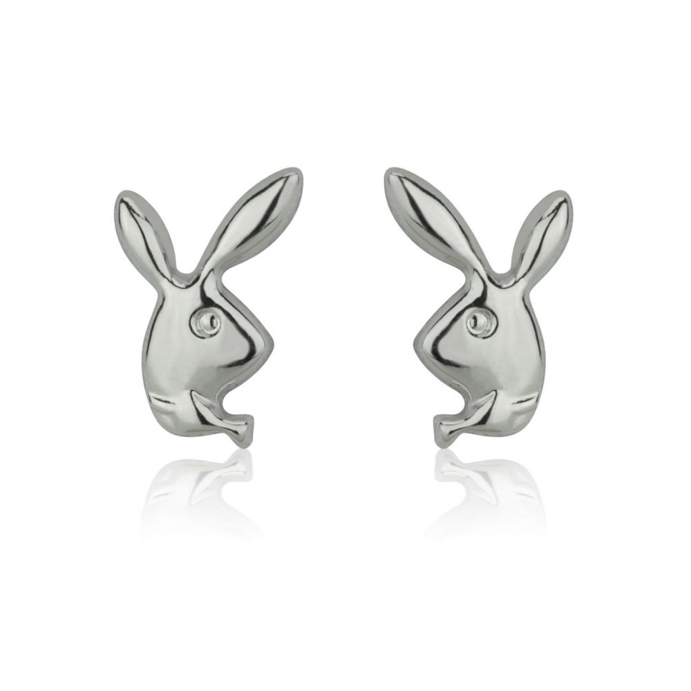 Girl's Jewelry | White Gold Stud Earrings -  Sweet Rabbit