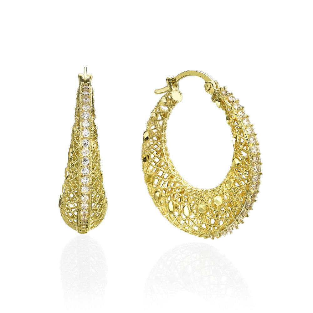 Hoop Gold Earrings - Dream Catcher. youme offers a range of 14K ...