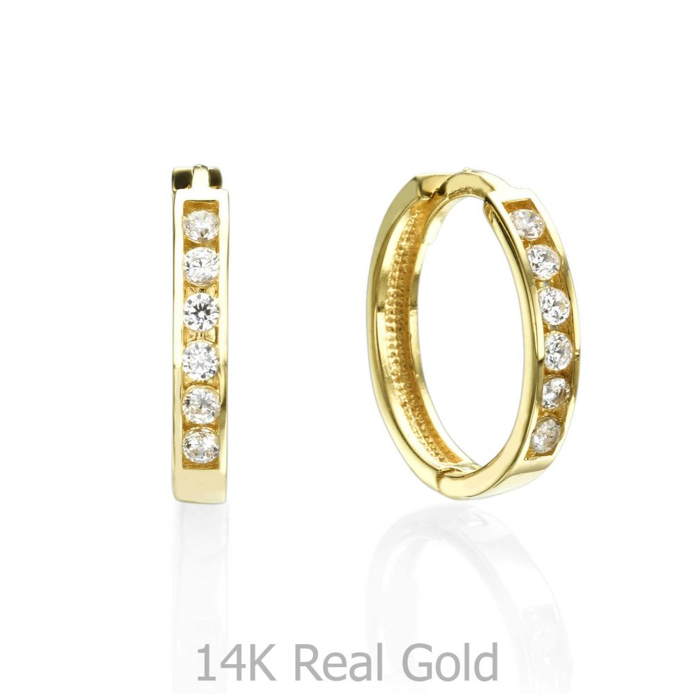 Huggie Gold Earrings - Torino. youme offers a range of 14K gold ...