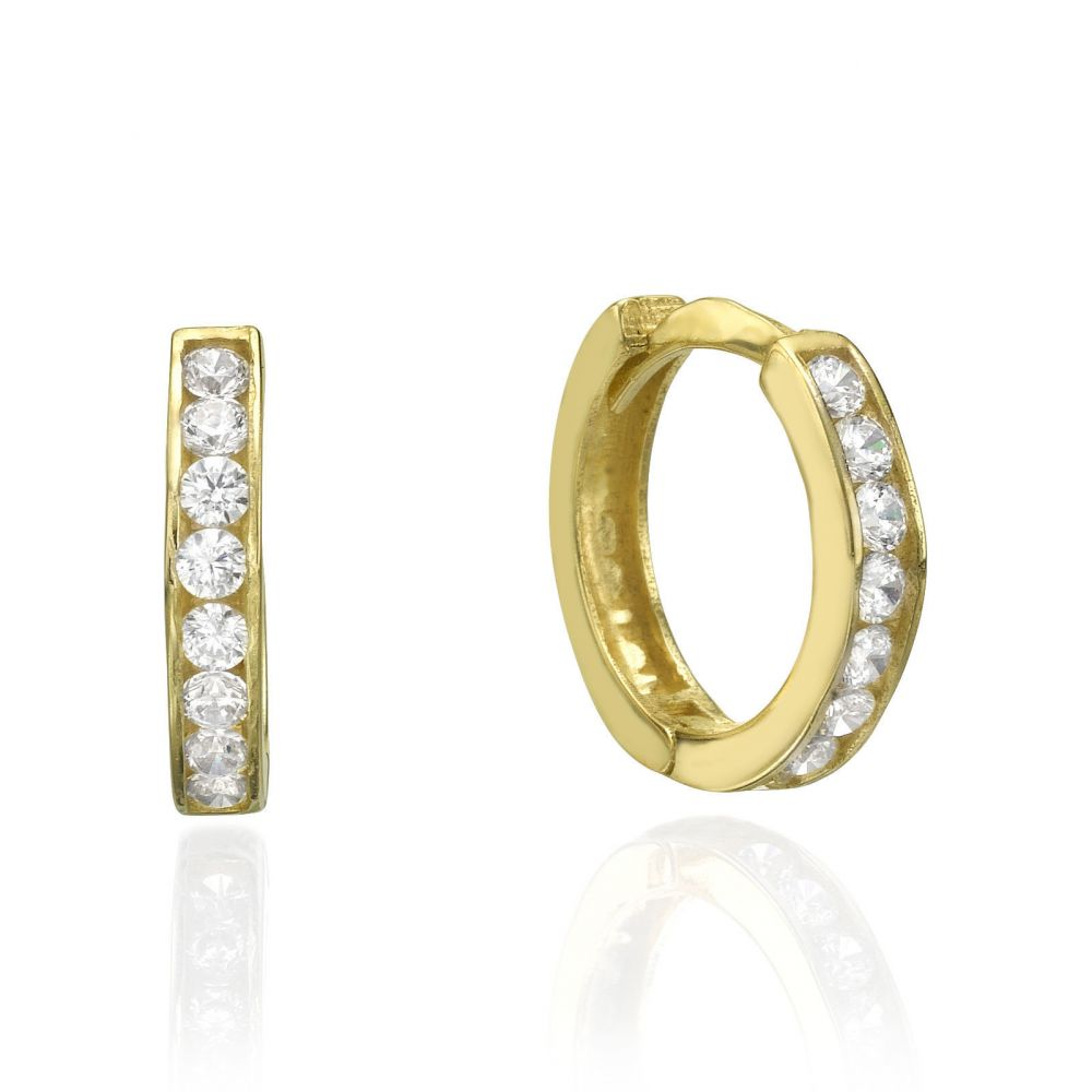 Huggie Gold Earrings - Prague. youme offers a range of 14K gold ...