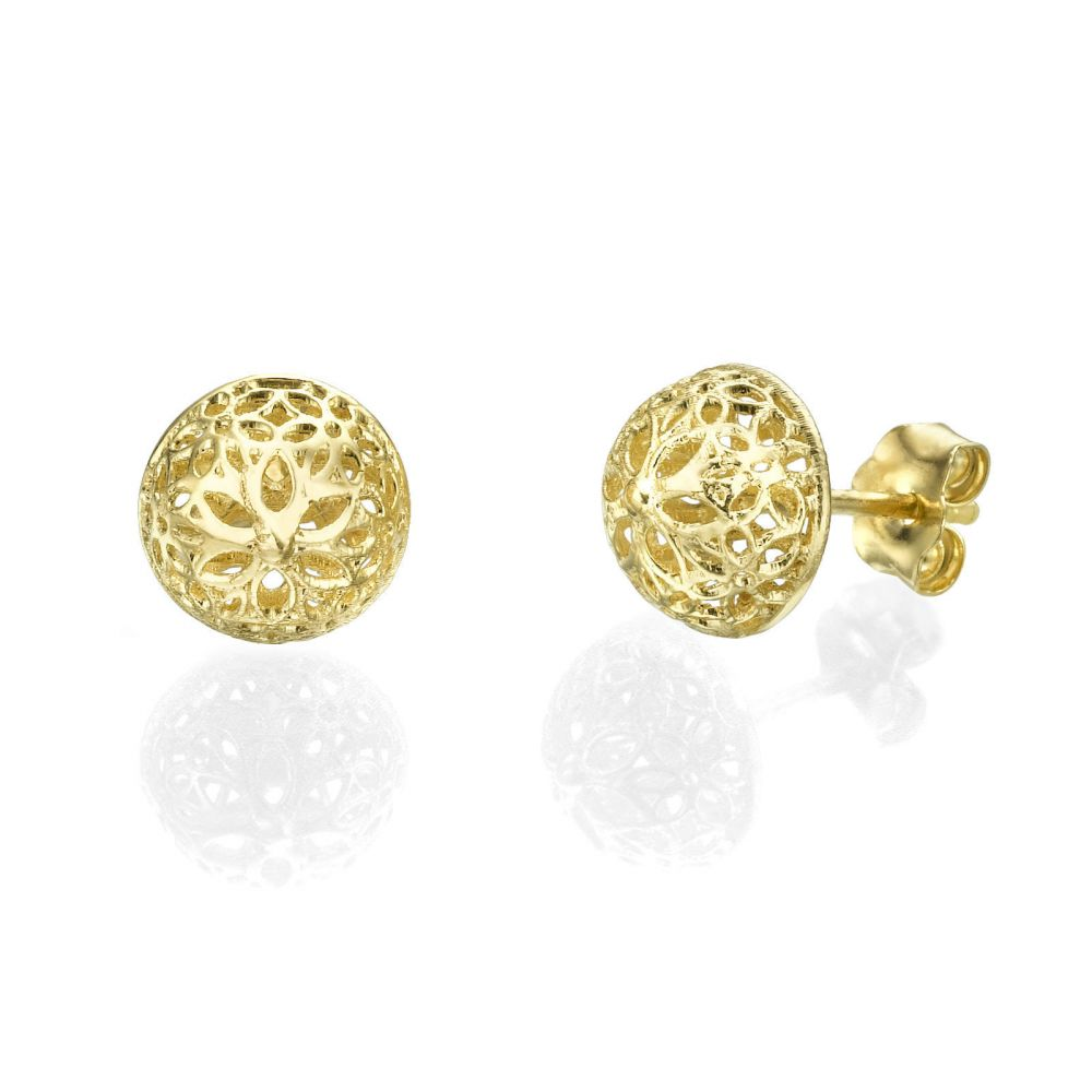 Gold Earrings | Stud Gold Earrings - Filigree Flower