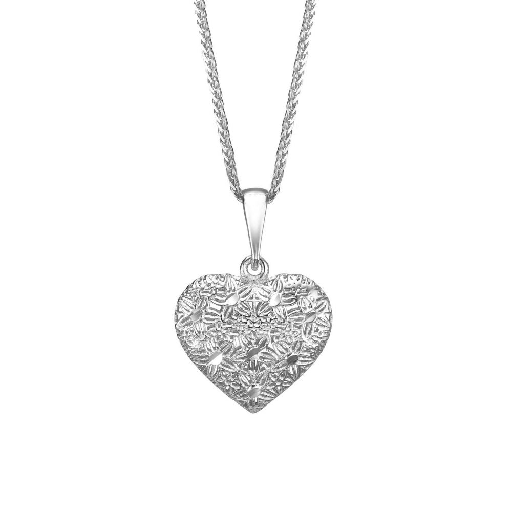 White gold pendant embroidered heart youme offers a range of 14k gold pendant white gold pendant embroidered heart aloadofball Images