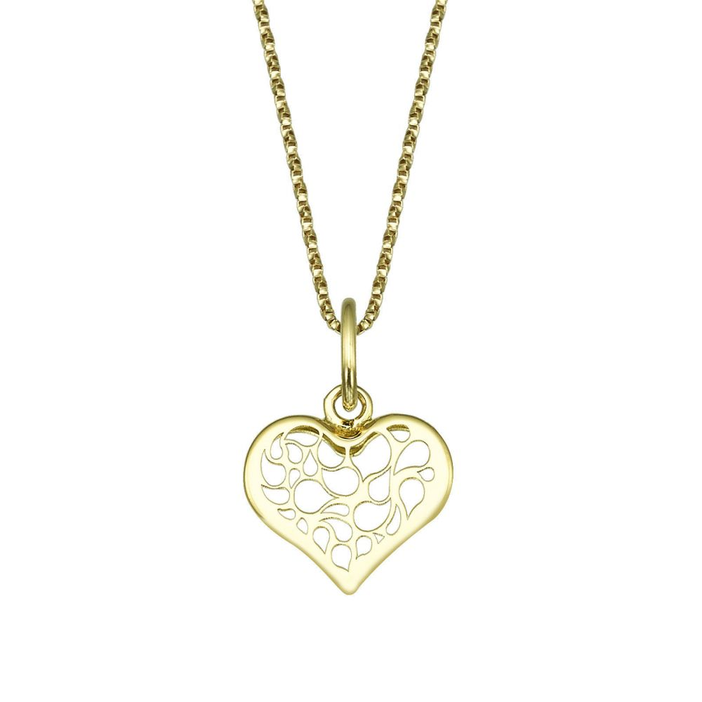 Pendant and necklace in yellow gold abstract heart youme offers a girls jewelry pendant and necklace in yellow gold abstract heart aloadofball Image collections
