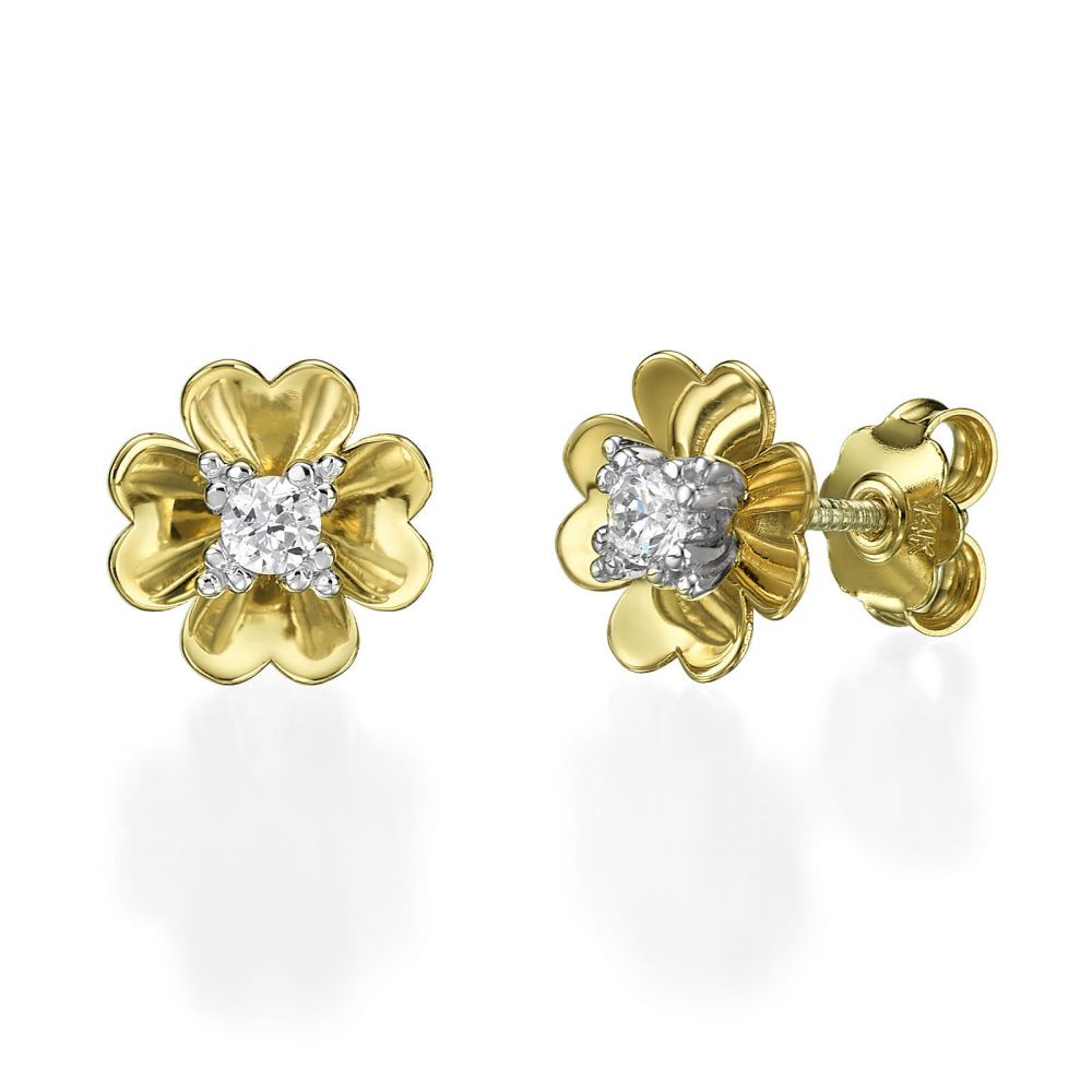 earrings round stud yellow diamond ye p canary