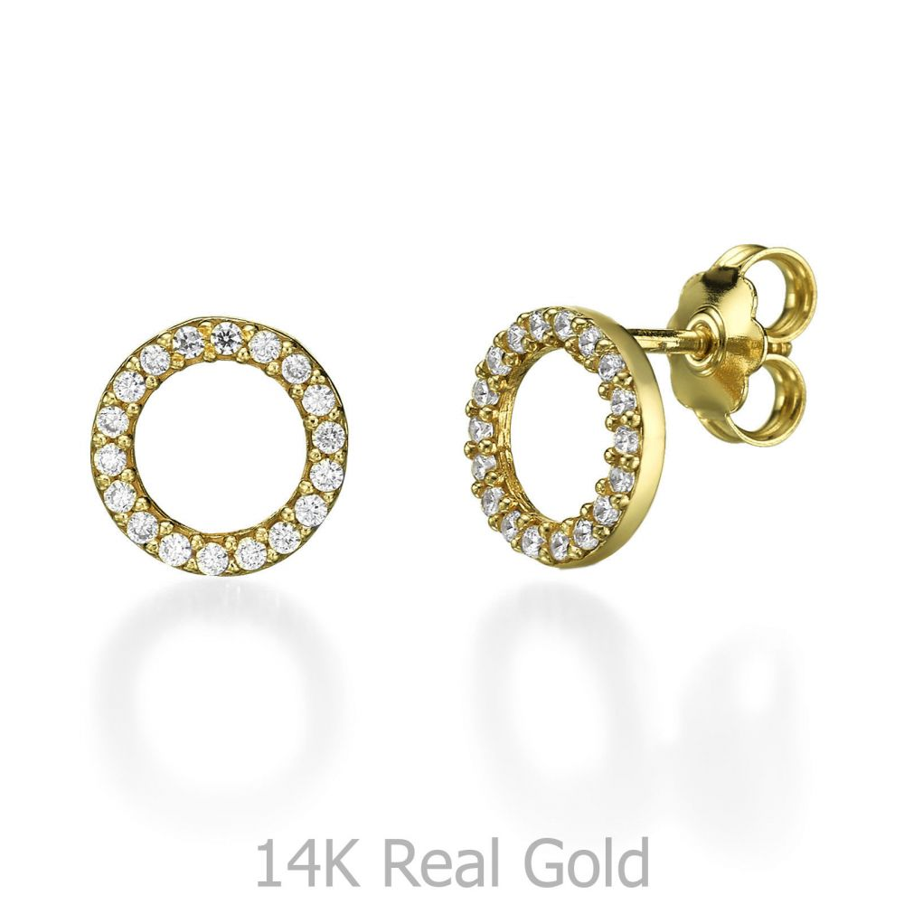 Stud Earring in Yellow Gold Circles of Joy youme offers a range