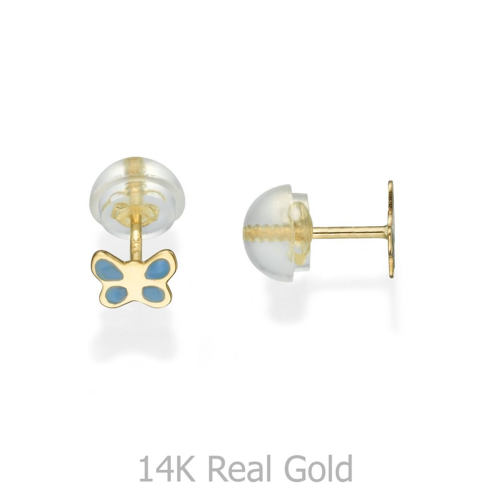 Girl's Jewelry | Gold Stud Earrings -  Blue Butterfly