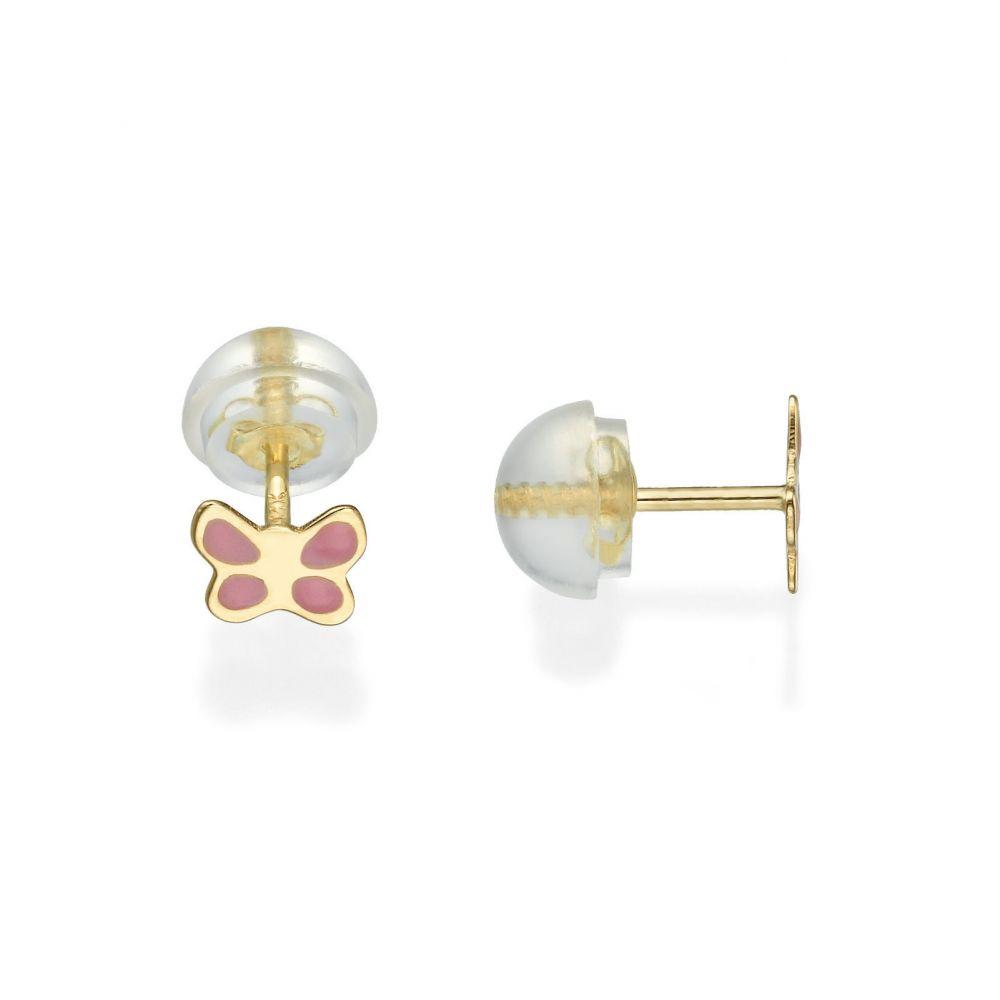 Girl's Jewelry | Gold Stud Earrings -  Pink Butterfly
