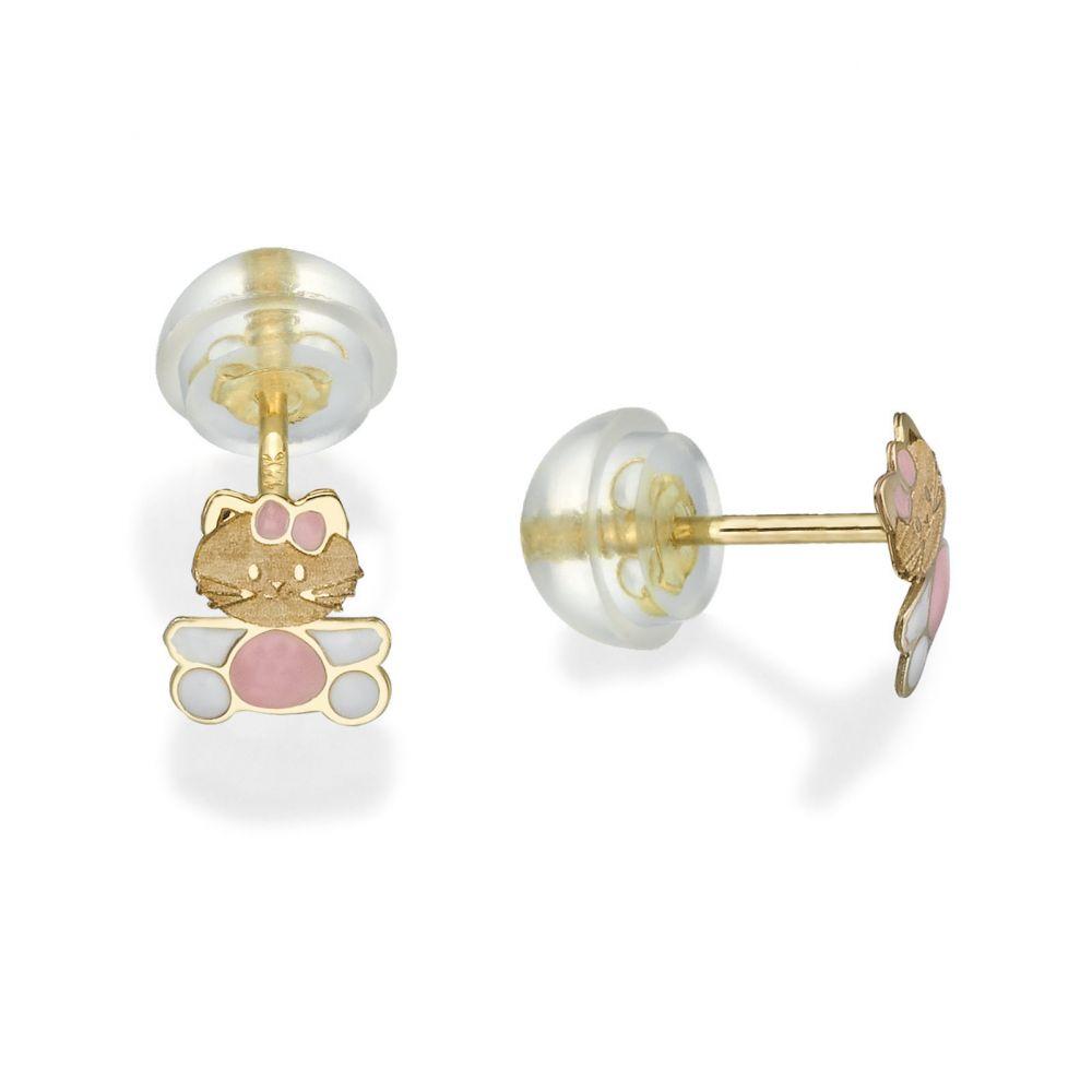 Girl's Jewelry | Gold Stud Earrings -  Kitty Kat