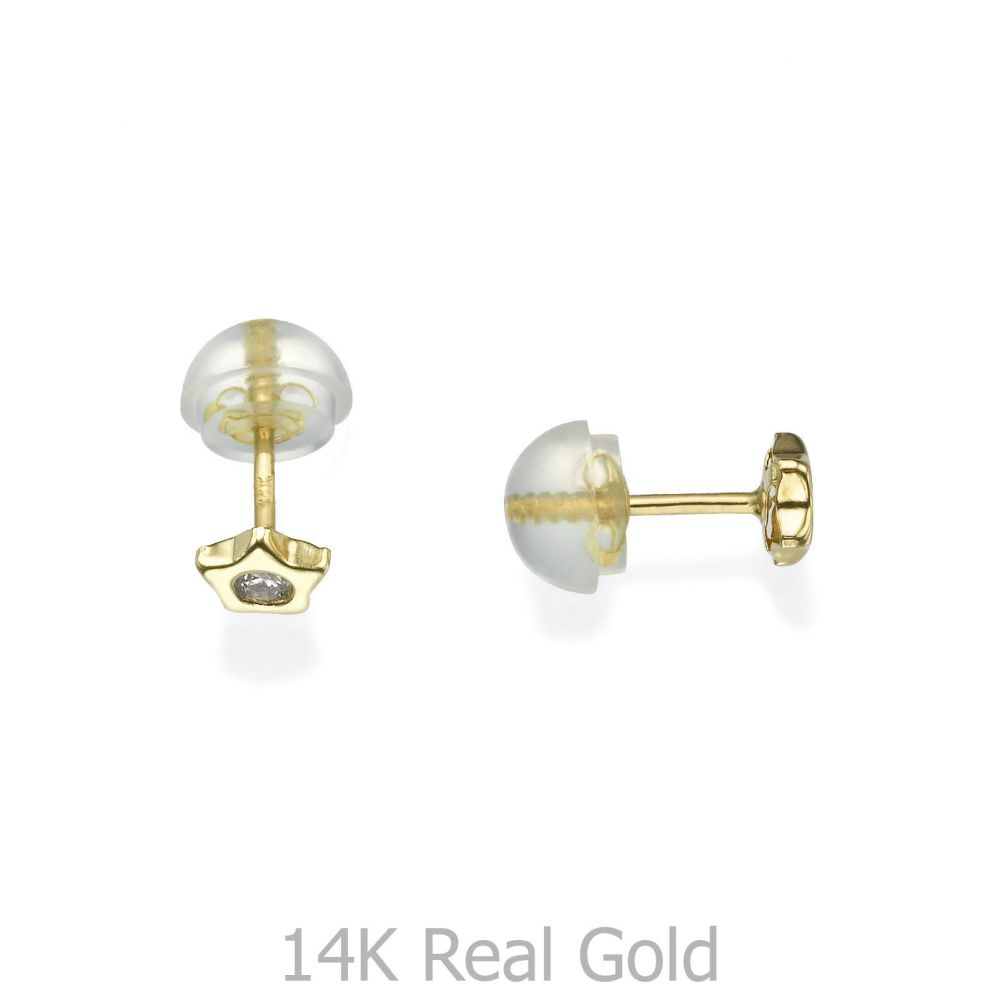 Girl's Jewelry | Gold Stud Earrings -  Sparkling Star - Delicate