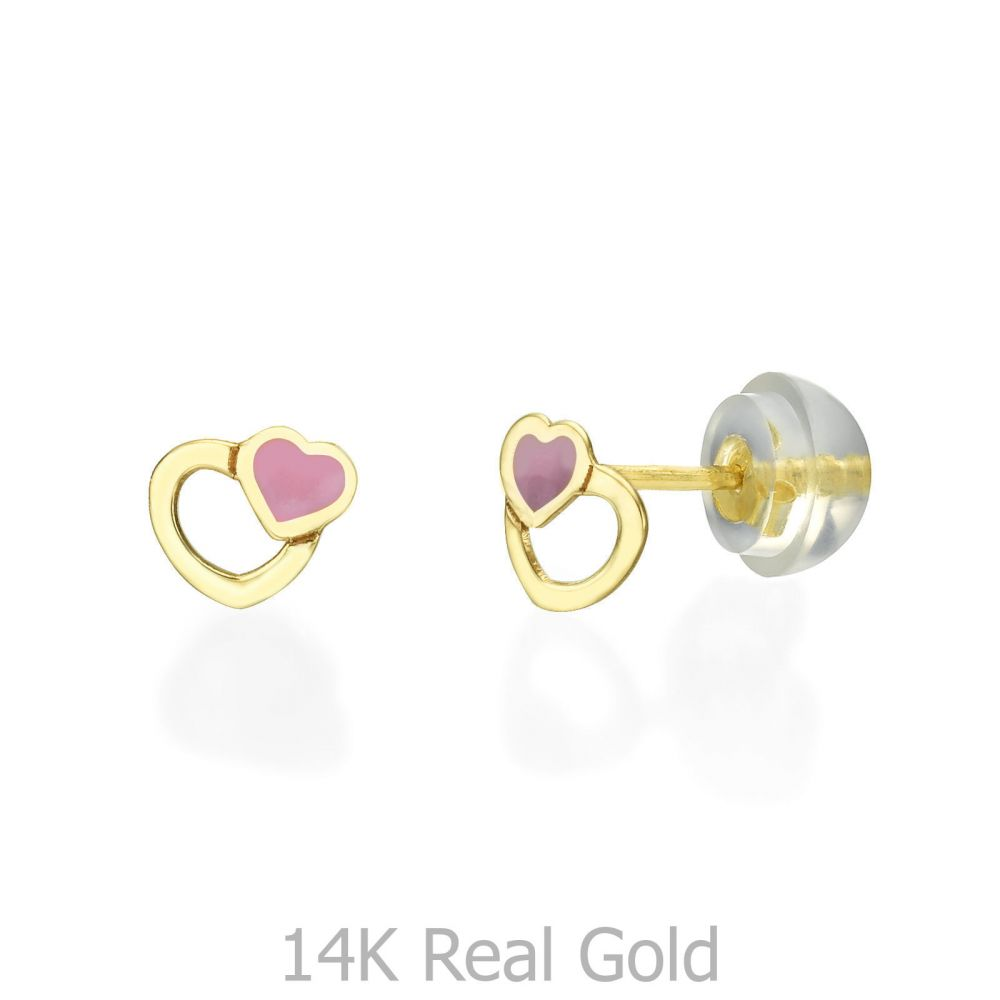 Girl's Jewelry | Gold Stud Earrings -  Optimistic Hearts
