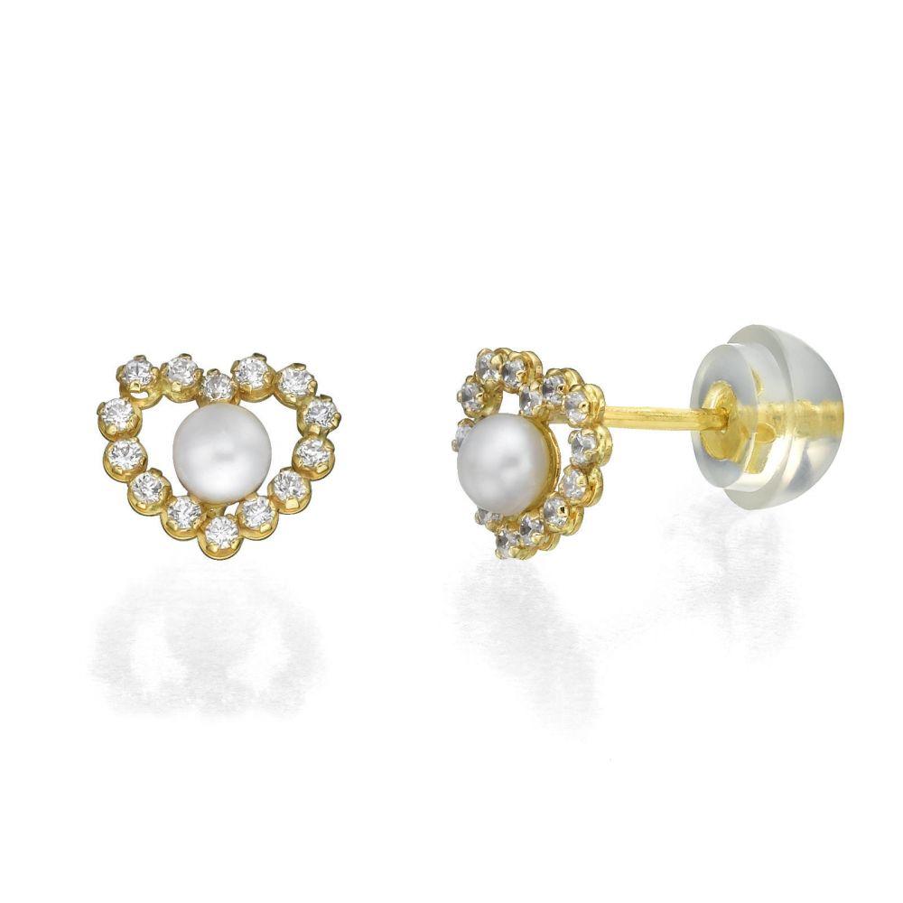 Girl's Jewelry   Gold Stud Earrings -  Marilyn Pearl