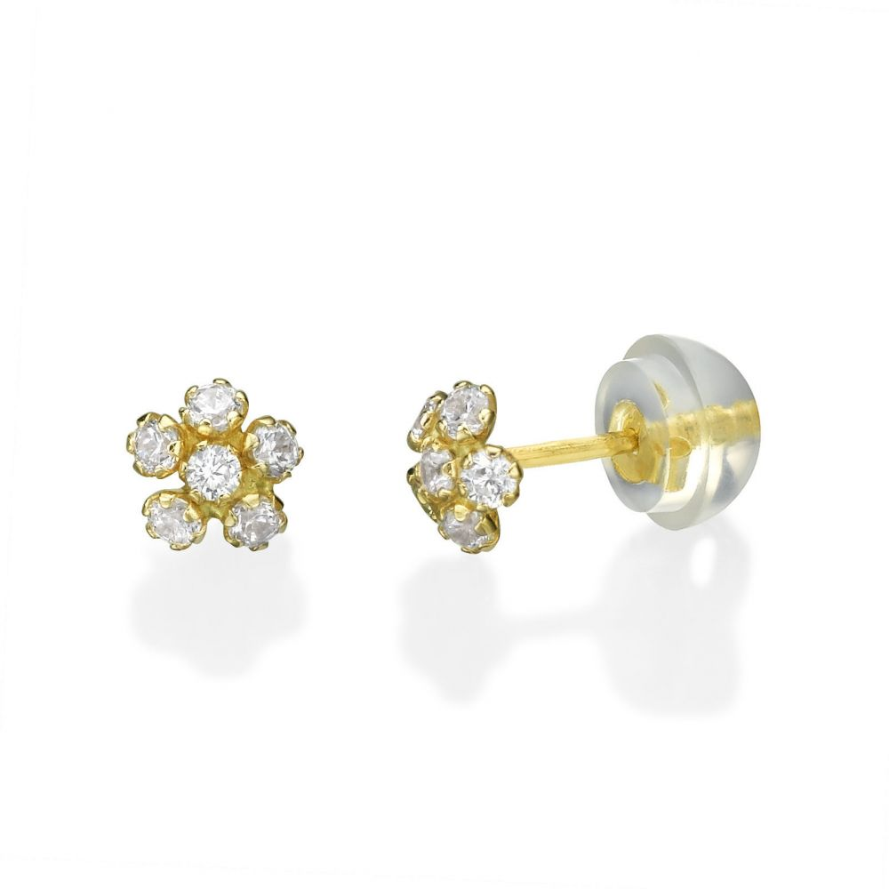 Girl's Jewelry | Gold Stud Earrings -  Flower Extraordinaire