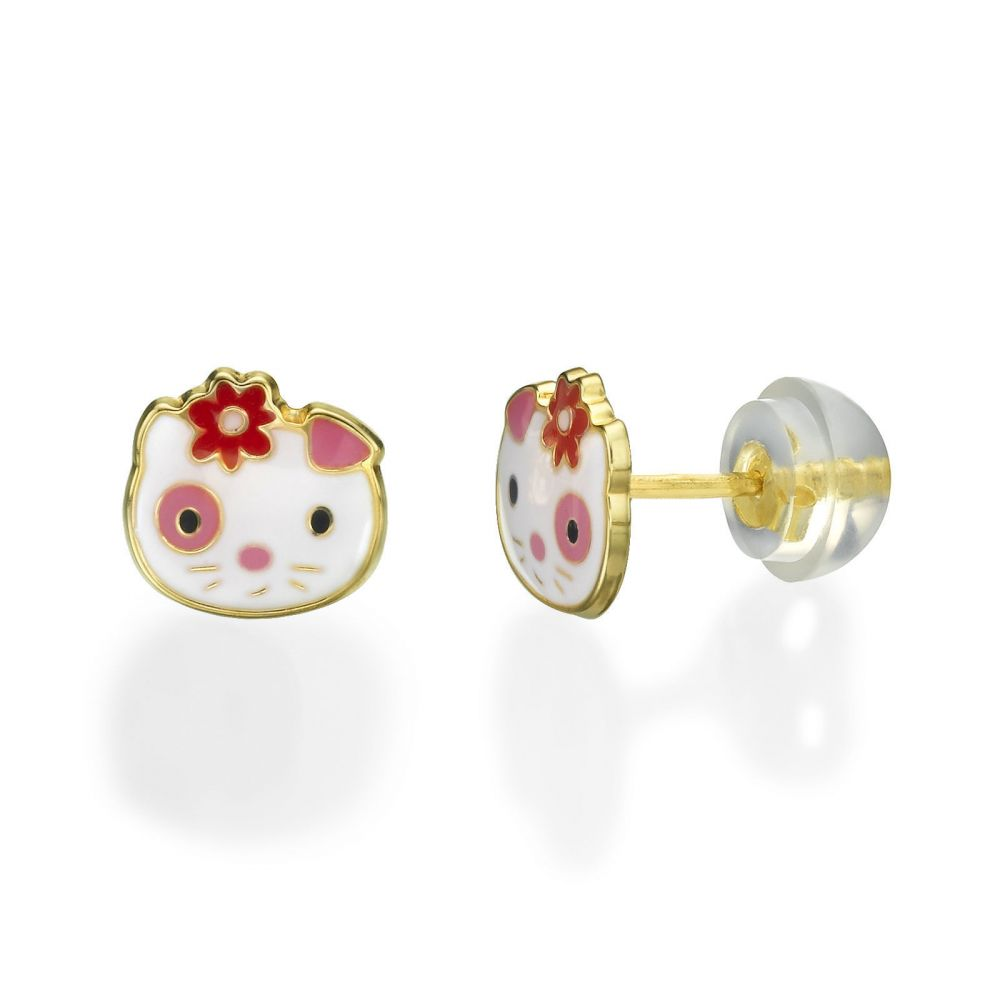 Girl's Jewelry | Gold Stud Earrings -  Cutie Cat