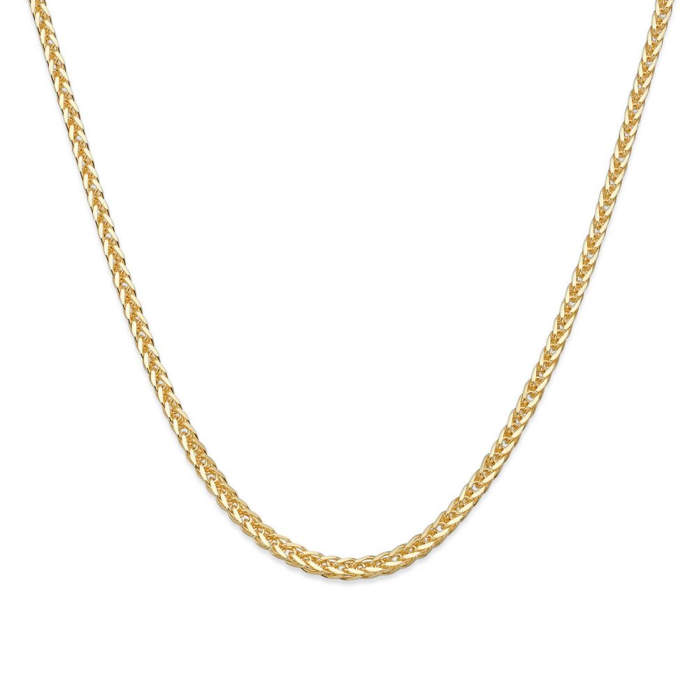 Gold Chains   14K Yellow Gold Spiga Chain Necklace 1mm Thick, 23.6