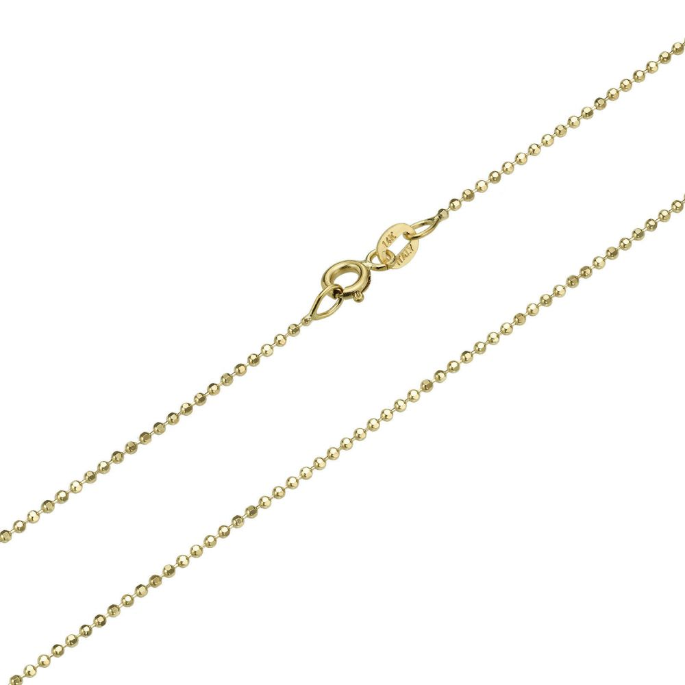 Gold Chains | 14K Yellow Gold Balls Chain Necklace 0.9mm Thick, 16.5